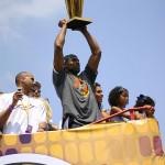 Kobe Bryant at Trophy championship parade of the 2009 NBA Champions Los Angeles Lakers