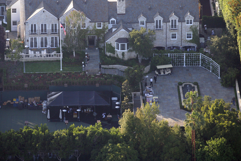 Tom Cruise and wife Katie Holmes host a party at their Beverly Hills home